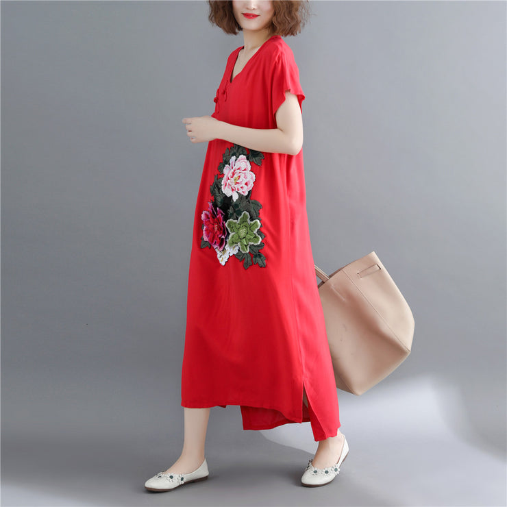 Fine red cotton linen maxi dress casual short sleeve Embroidery cotton dresses fine v neck traveling clothing