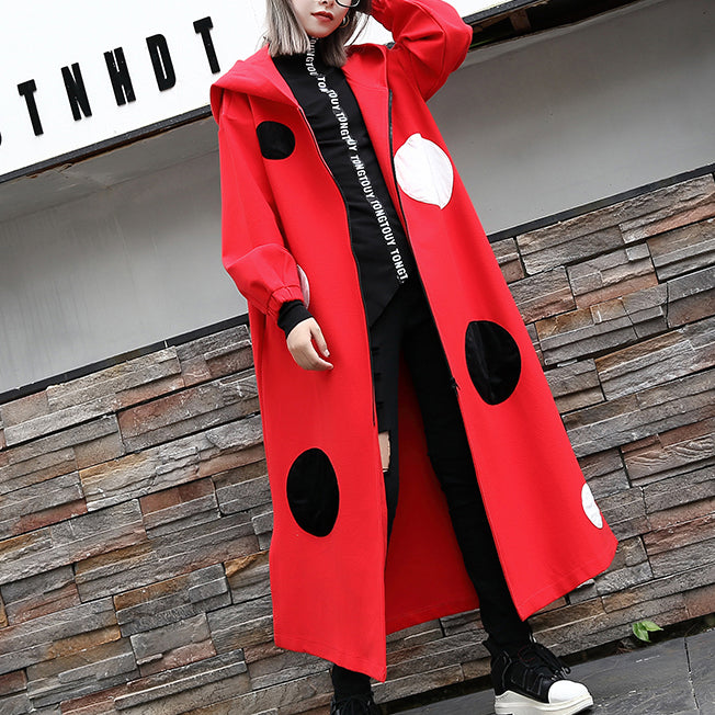 Fine red dotted Coat oversize hooded outwear Fashion side open baggy long coats