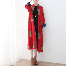 Load image into Gallery viewer, Fine red linen coat oversized patchwork long cotton cardigan Fine Chinese Button traveling clothing