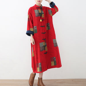 Fine red linen coat oversized patchwork long cotton cardigan Fine Chinese Button traveling clothing