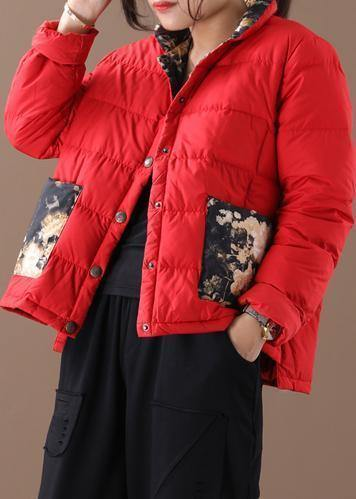 Fine red patchwork print warm winter coat stand collar pockets winter outwear