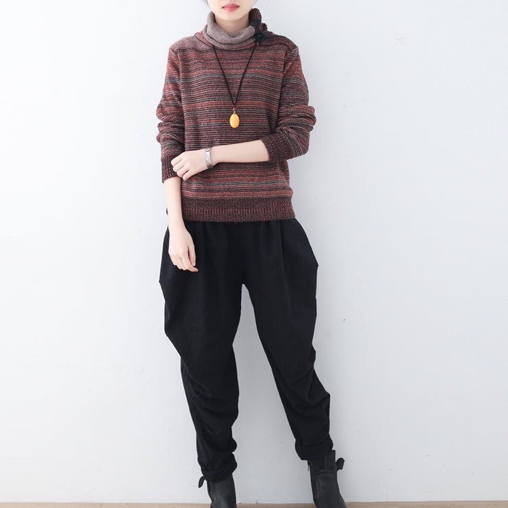 Fine red striped cozy sweater fall fashion knit sweat tops women high neck winter shirt