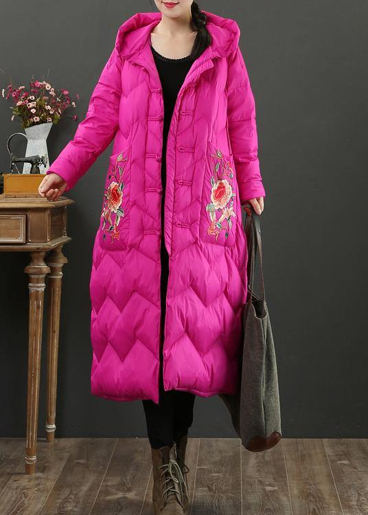 Fine rose embroidery down jacket woman casual snow jackets hooded Warm overcoat