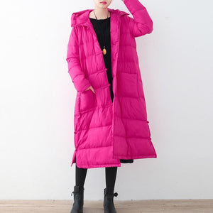 Fine rose red down overcoat Loose fitting down jacket New hooded winter outwear Chinese Button