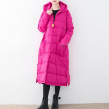 Load image into Gallery viewer, Fine rose red down overcoat Loose fitting down jacket New hooded winter outwear Chinese Button