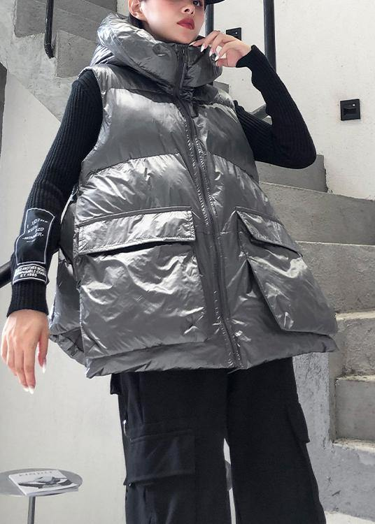 Fine silver gray winter outwear plus size clothing snow sleeveless hooded pockets winter outwear