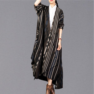 Fine striped long coat trendy plus size V neck asymmetric Coats Elegant Batwing Sleeve jackets