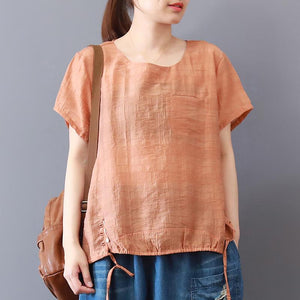 Fine summer cotton blended tops plus size Short Sleeve Solid Color Casual High-Low Hem Blouse