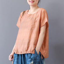 Load image into Gallery viewer, Fine summer cotton blended tops plus size Short Sleeve Solid Color Casual High-Low Hem Blouse