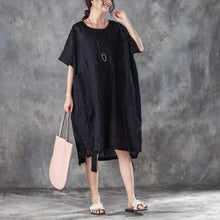 Load image into Gallery viewer, Fine summer dresses oversize Loose Round Neck Short Sleeve Irregular Black Dress