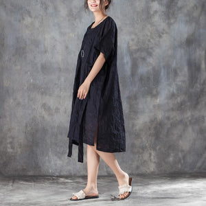 Fine summer dresses oversize Loose Round Neck Short Sleeve Irregular Black Dress