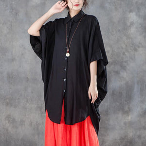 Fine summer t shirt Loose fitting Loose Women Single Breasted Polo Collar Black Shirt