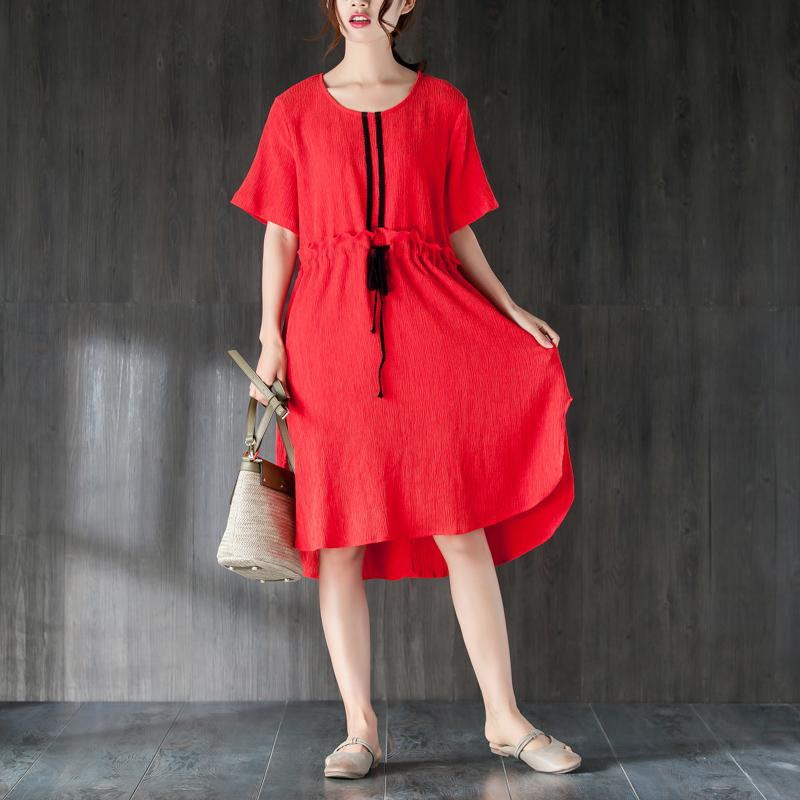 Fine tencel summer dress plus size clothing Red Summer Women Dress with Ruffles and Ribbon
