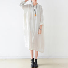 Load image into Gallery viewer, Fine white Ramine linen dresses plus size 2017 fall linen shirt dress