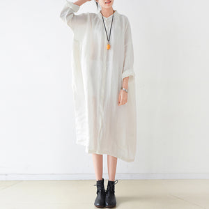 Fine white Ramine linen dresses plus size 2017 fall linen shirt dress
