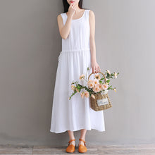 Load image into Gallery viewer, Fine white pure cotton linen dress oversize casual dress boutique Sleeveless O neck drawstring cotton linen dress