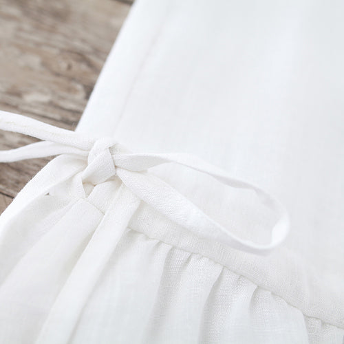Fine white pure cotton linen dress oversize casual dress boutique Sleeveless O neck drawstring cotton linen dress