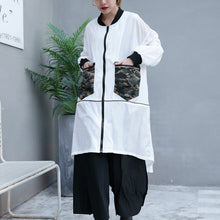 Load image into Gallery viewer, Fine white thin Coat plus size low high Jackets & Coats New long sleeve coat