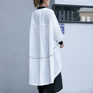 Fine white thin Coat plus size low high Jackets & Coats New long sleeve coat