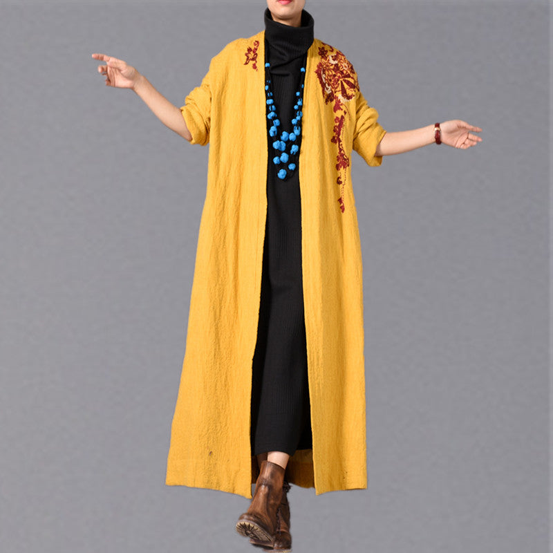 Fine yellow Coats casual embroidery baggy Winter coat boutique side open Coats