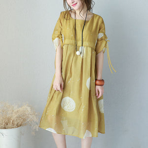 Fine yellow prints chiffon dresses oversized high waist dress Elegant drawstring sleeve dresses