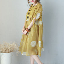 Load image into Gallery viewer, Fine yellow prints chiffon dresses oversized high waist dress Elegant drawstring sleeve dresses