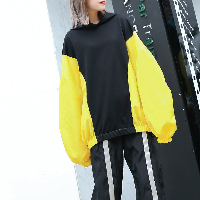 Fine yellow tops oversize hooded patchwork casual boutique batwing Sleeve baggy tops
