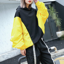 Load image into Gallery viewer, Fine yellow tops oversize hooded patchwork casual boutique batwing Sleeve baggy tops