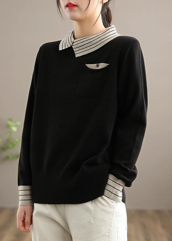 For Spring  Black Knit Tops Clothing Lapel Patchwork Sweater Tops