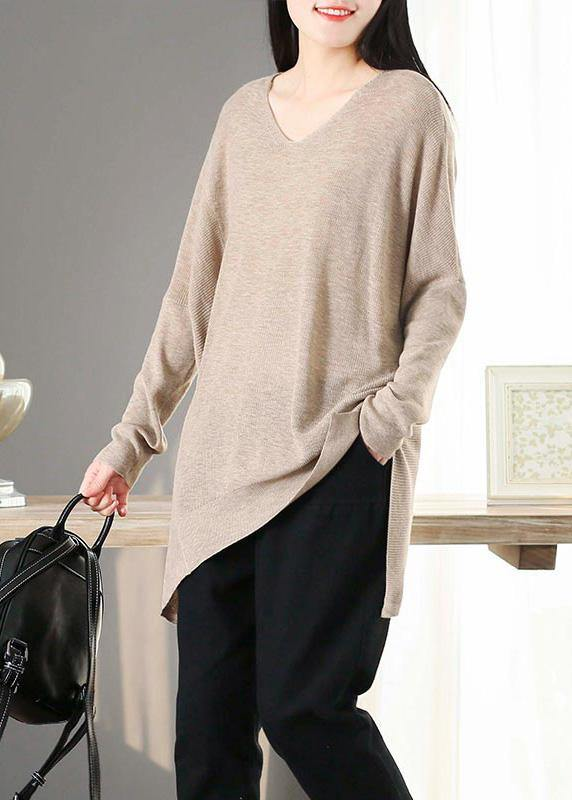 For Spring Nude Clothes V Neck Asymmetric Knit Tops