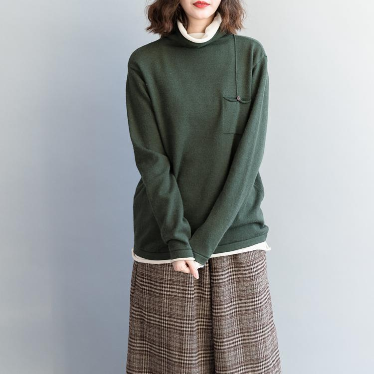 For Spring army green knit tops oversized high neck knitwear
