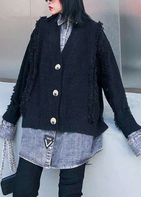 For Spring black knit cardigans oversize knitwear lapel patchwork tops