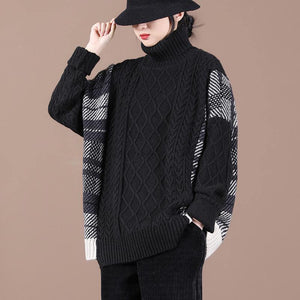 For Spring black plaid khitted clothes high neck plus size knit tops