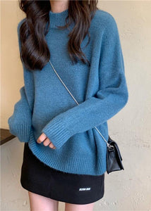 For Spring blue sweater tops high neck plus size knit sweat tops