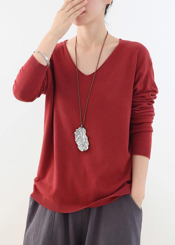 For Spring fall red knitted blouse fashion v neck knitted top