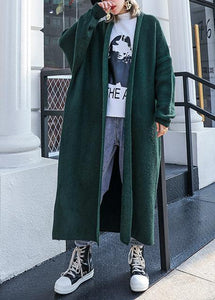 For Spring knit sweat tops fall fashion blackish green sweater coat