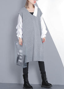 For Spring patchwork Puff Sleeve Sweater weather plus size gray Mujer knit dress