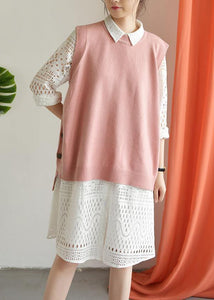 For Spring pink clothes plus size o neck knit tops low high design