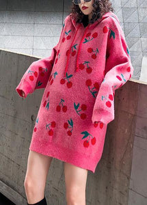 For Spring pink print Sweater weather fashion drawstring hooded knitted tops