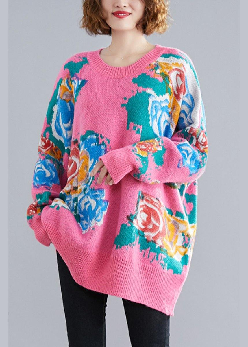 For Spring pink print sweaters plus size o neck knit top silhouette