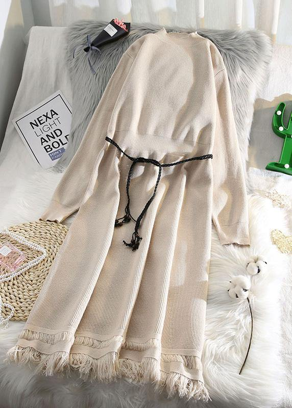 For Spring tassel Sweater weather fashion beige Hipster knitted dress