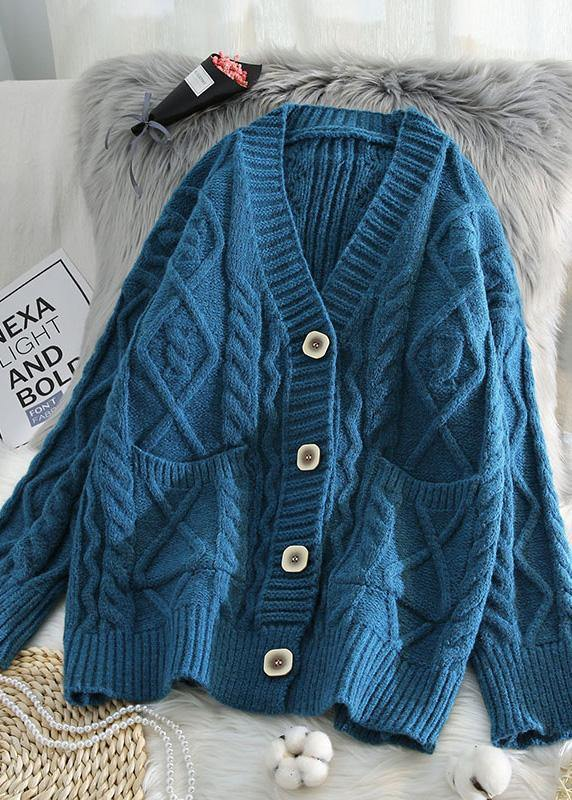For Spring v neck knit outwear Loose fitting blue two pockets knit coats