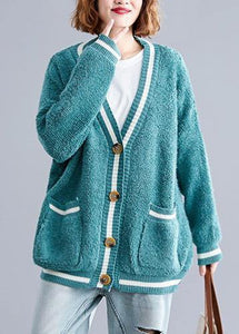 For Spring warm sweaters casual green v neck fall knitted cardigans