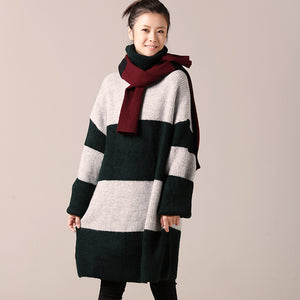 For Work Sweater dress outfit Women long sleeve green striped tunic knit dress fall high neck