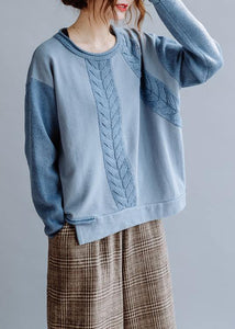 For Work blue crane tops o neck casual knitted blouse