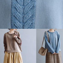 Load image into Gallery viewer, For Work blue crane tops o neck casual knitted blouse