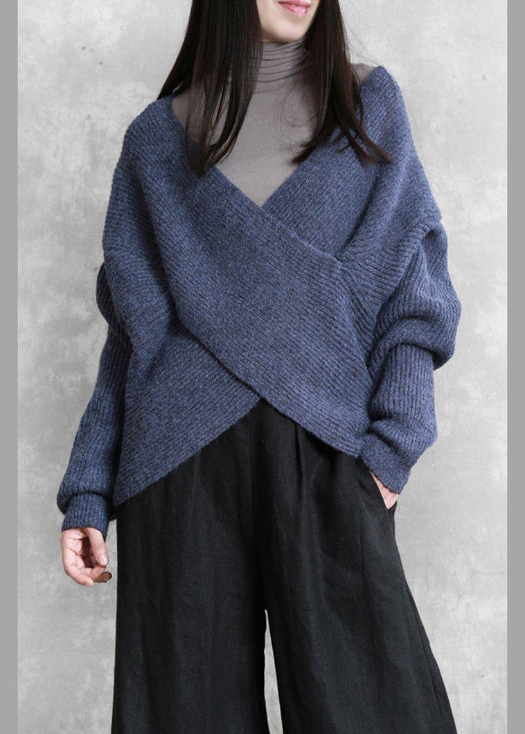For Work blue knitted clothes plus size knit sweat tops v neck Batwing Sleeve