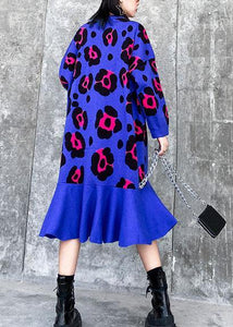 For Work blue print Sweater weather Largo o neck Ruffles Big knit dress