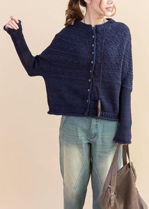 For Work dark blue Loose fitting fall knitwear o neck Button Down tops