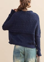 Load image into Gallery viewer, For Work dark blue Loose fitting fall knitwear o neck Button Down tops